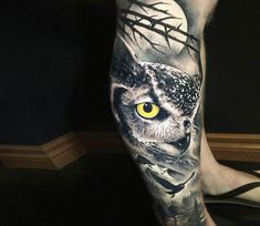 Night owl tattoo by Khail Tattooer