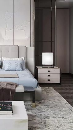 interiors videos for dream family master bedroom with a king size bed and a luxury headboard. The interior design is created by TOP designers of Spazio. Interior Design Dubai, Japanese Interior Design, Interior Design Companies, Luxury Homes Interior, Master Bedroom Interior, Bedding Master Bedroom, Large Bedroom, Bedroom Interiors, Design Bedroom