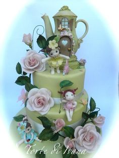 """THIS IS THE CAKE """"GARDEN FAIRY"""", WITH MANY FLOWERS … AND WITH A TEA-HOUSE THAT I WOULD LIKE TO HAVE TOO MUCH :-)"""