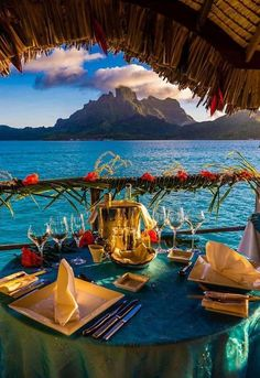 Romantic private catered dinner on the deck of an overwater bungalow ~ Four Seasons Resort Bora Bora, French Polynesia.Honeymoon Destination Ideas, Romantic Place around the world, Best couples destination, Place to visit Romantic Places, Romantic Travel, Beautiful Places, Romantic Vacations, Romantic Resorts, Romantic Honeymoon, Romantic Getaways, Places To Travel, Places To See