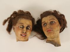 Two extremely creepy wax mannequin heads Artist Mannequin, Child Mannequin, Mannequin Heads, Creepy Kids, Creepy Dolls, Anatomy Models, Vintage Mannequin, Curiosity Shop, The Uncanny