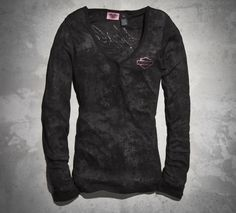 Wear it to a rally, to a relay or both! The Pink Label Burnout Tee supports your style and a great cause.   Harley-Davidson Women's #PinkLabel Burnout Tee