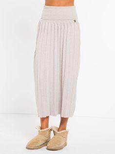 VELMA L SKIRT Long pleated angora blend skirt with wide fine rib on the  waist 97d3fbafd1
