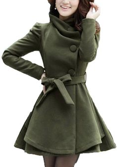 Army Green Turndown Collar Thick Dacron Wool Coat