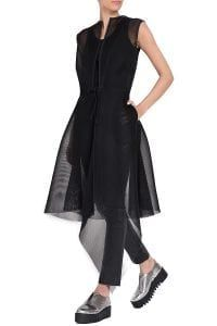 Asymmetric mesh vest wuth flared tailoring and accentuated waist. Wear this statement piece with leather trousers and a simple top. - Wash at - Midi length; Leather Trousers, Perfect Match, That Look, Fabric, Cotton, How To Wear, Shirts, Shopping, Tops