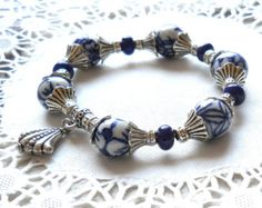 Bib necklace blue necklace Delft blue necklace blue and
