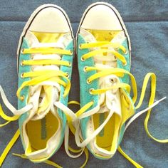 [Converse] Blue and Yellow Double Tongue Sneakers! Worn just a few times- any dirt can easily be removed with soap and water! Near new condition! Low Top! Converse Shoes Sneakers