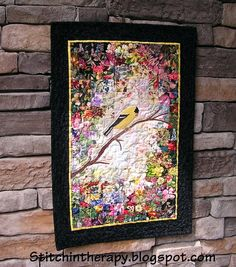 watercolor quilt with bird