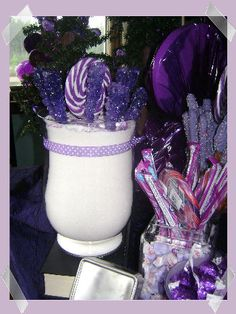 Purple Candy Party Ideas...love the rock cany idea