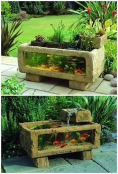Planting trough to fish tank