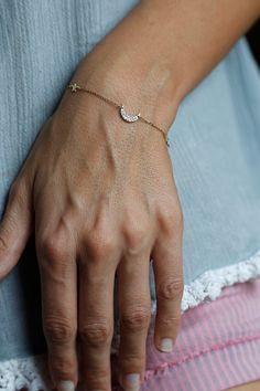 """You are the moon to my stars"" at https://www.etsy.com/listing/198721819/moon-stars-bracelet-diamond-bracelet"