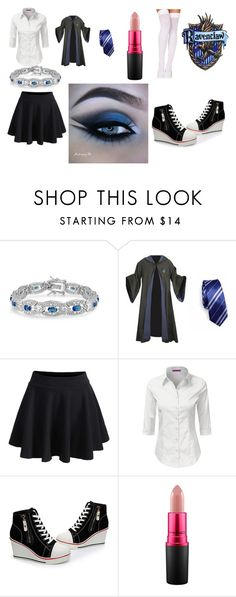 """""""Ravenclaw robes"""" by harrypotterfan2000 ❤ liked on Polyvore featuring Bling Jewelry, WithChic and MAC Cosmetics"""