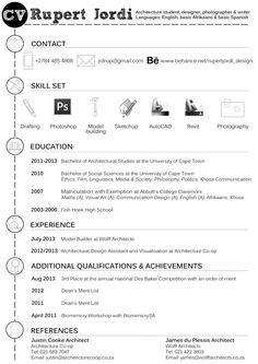 Curriculum Vitae by Rupert Jordi, via Behance