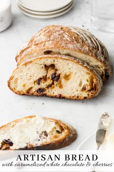 This chocolate cherry artisan bread is filled with tart dried cherries and toasty chunks of caramelized white chocolate!