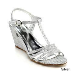 Amazon.com: BONNIBEL FLOSA-1 Women Glitter T-strap Wedge Heel Ankle Strap Party Dress Sandal: Shoes