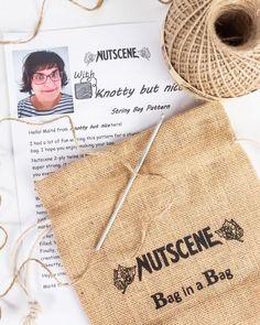 Make your own string bag kit- from nutscene- jute string eco bag String Crafts, Fun Crafts, Make Your Own, Make It Yourself, How To Make, Hessian Bags, Crochet Hooks, Crochet Bags, String Bag