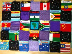 Heather M.'s blanket of flags To learn more about our organization go to www.knit-a-square.com To meet our members and see more of our knitting and crochet go to http://forum.knit-a-square.com/