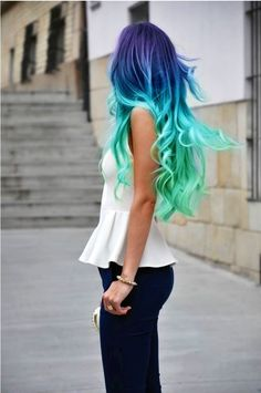 My hair used to be this blue color when I was 12! :) This would be so fun to do on a vacation somewhere for when I grow my hair back out! Use temporary hairdie.