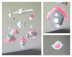 Baby Mobile - Owl Mobile - Pink and Gray Mobile - Baby crib mobile - Pick your colors :) on Etsy, $145.00
