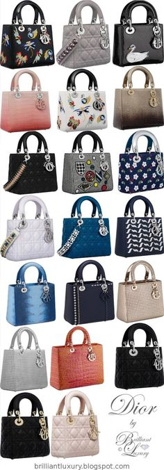 Lady Dior bag collection - Dior Purse - Ideas of Dior Purse - Lady Dior bag сумки модные брендовые bags lovers bags-lovers. Dior Purses, Dior Handbags, Purses And Handbags, Beautiful Handbags, Beautiful Bags, Luxury Bags, Luxury Handbags, Sac Lady Dior, Branded Bags