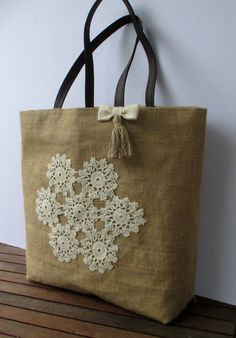 SOLD Handmade jute tote elegant bag decorated with crochet cotton lace and tiny pearls, unique, chic,light, collectible, city bag, stylish
