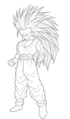 dragon ball z son goku super saiyan three | dragon ball z coloring ... - Super Saiyan Goku Coloring Pages