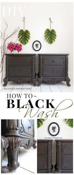 refinishing furniture How To Black Wash Furniture And Leave Some Stain Peeking Through Black Painted Furniture, Chalk Paint Furniture, Refurbished Furniture, Plywood Furniture, Repurposed Furniture, Home Decor Furniture, Furniture Projects, Diy Home Decor, Furniture Design
