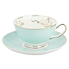 A pretty teacup and saucer.