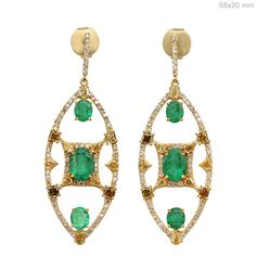 Genuine 5.28 Ct Emerald Gemstone Dangle Earrings 18 K Yellow Solid Gold Diamond #Handmade #DropDangle