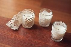Lace wrapped votives - simple DIY to add vintage details to the tabletop