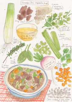 illustrated recipe for vegetable soup