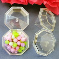 """favor idea at each plate  with blue candies or white mints 12 Diamond Fillable Boxes. Each measure approximately 2"""" x 2"""" x 2"""" tall. (Candy not included.)  1 lb. of French mints fills approx. 18 diamonds."""