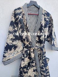 Black Winter Floral Kimono Robe Winter Kimono Robe Winter Kantha Jacket Winter Dresses Kimono Cardigan Dressing Gown For Winter Unisex Robe Satin Kimono, Cotton Kimono, Floral Kimono, Cotton Jacket, Winter Kimono, Kimono Cardigan, Kimono Jacket, Kimono Dressing Gown, Coats For Women