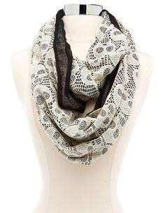 Skull Crochet Infinity Scarf: Charlotte Russe