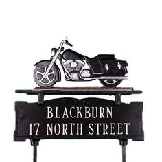 Montague Metal Products Two Line Lawn Address Sign with Motorcycle Finish: Black/Chrome