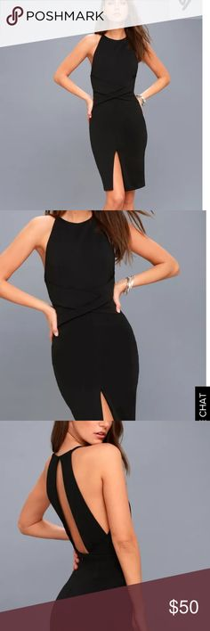 NWT ELIN BLACK BACKLESS MIDI DRESS NWT Lulu's black dress. See photo for full description! Lulu's Dresses Midi