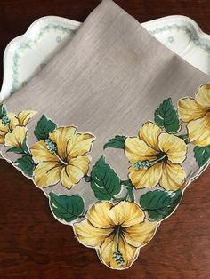 Excited to share this item from my shop: Vintage Hibiscus Floral Handkerchief Hanky Textile Crafting Fabric Painting On Clothes, Fabric Paint Shirt, Painted Clothes, Silk Painting, Fabric Art, Saree Painting Designs, Fabric Paint Designs, Fabric Design, Hand Painted Sarees