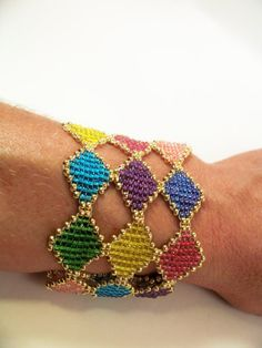 Vitrail Bracelet manchette motif perlant tutoriel au par zaneymay