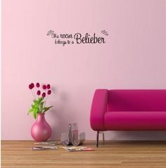 Justin Bieber - This room belongs to a Belieber cute music wall art wall sayings quotes