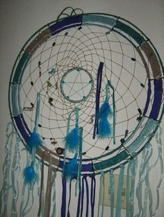Dreamcatcher in Teal and Aquamarine, extra Large 22 inch dream catcher silk and organza ribbons with Turquoise stone beads,charms,crysta