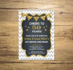 Golden Wedding Anniversary Invitation Chalkboard By Dpiexpressions 50th Birthday Party Invitations