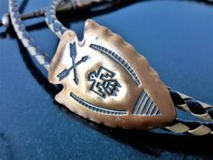06597f2d719a Copper Arrowhead Bolo Tie With Thunderbird / Stamped Copper / Phoenix Bird  / Faux Leather Lariat / Men's Gift
