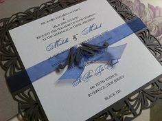 Wedding Invitation, laser cut - Art Deco Invitation, square Custom Personalized