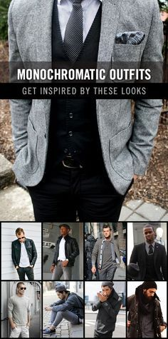 By choosing only black, white, and gray from your wardrobe, you can create some eye-catching outfits. Enjoy the following collection of monochromatic inspired fashion. #monochromaticstyle #mensfashion