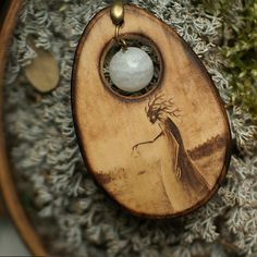 Wood jewelry fantasy creature on #etsy Forest spirit is handcraft pyrography art  Personalized nature lover gift: If you want, I can pyrography 1-3 words on the reverse side of a wooden necklace