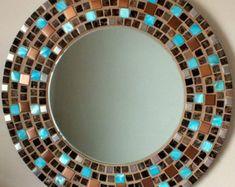 Beautiful Handmade Mosaic Mirror Bevelled by MirorMirorOnTheWall Mirror Mosaic, Glass Mosaic Tiles, Mosaic Art, Mirror Plates, Led Mirror, Mandala, Handmade Mirrors, Mosaic Tile Designs, Beautiful Mirrors