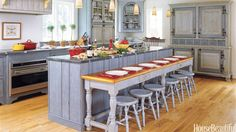 Swedish-Style Kitchen - paint the island blue! Swedish Kitchen, Country Kitchen, New Kitchen, Kitchen Dining, Kitchen Decor, Kitchen Ideas, Kitchen Cabinets, Blue Cabinets, Rustic Kitchen
