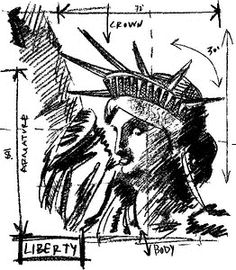 Tim Holtz Rubber Stamp LIBERTY SKETCH Stampers Anonymous V1-2072