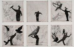 """William Kentridge """"Bird Catcher"""", 2006 Charcoal, pastel and ink on paper 6 drawings 40 x 40 cm each South African Artists, Lucian Freud, Animation Film, Gravure, Teaching Art, Les Oeuvres, Art Drawings, Contemporary Art, Pastel"""