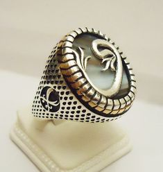 925 Sterling Silver Men's Ring with Botswana Agate -Absolutely Unique-